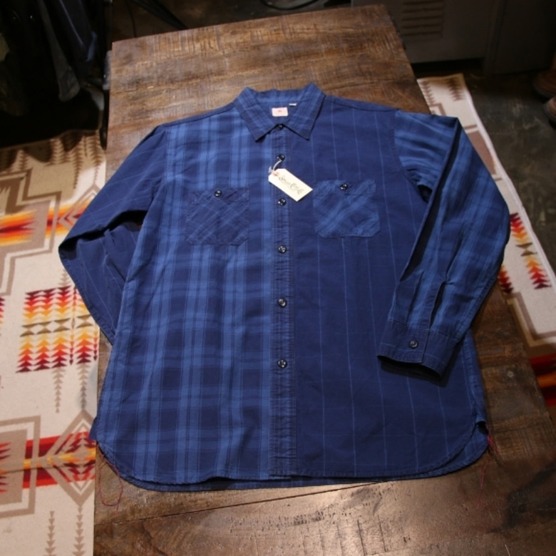 sugar cane indigo check shirt