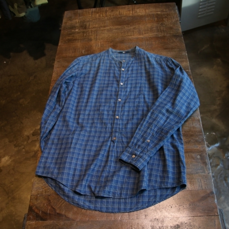 45rpm indigo check shirt