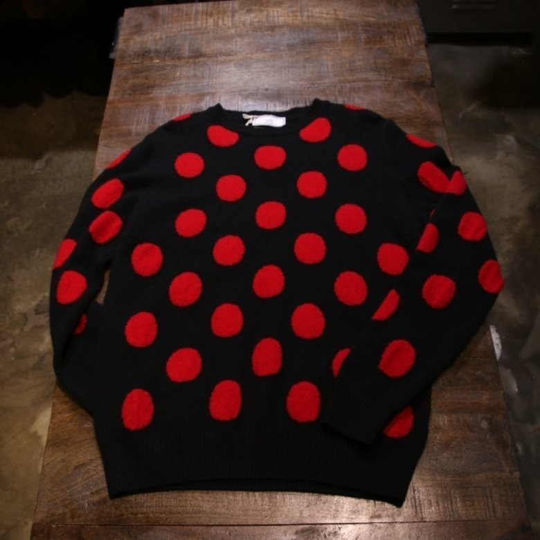 ami red dot wool sweater